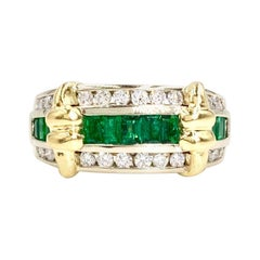 18 Karat and Platinum Emerald and Diamond Channel Set Ring