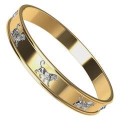 18 Karat and Platinum Persepolis Lion Bangle Bracelet