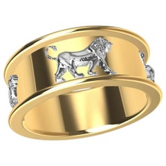 18 Karat Yellow Gold and Platinum Persepolis Lion Ring