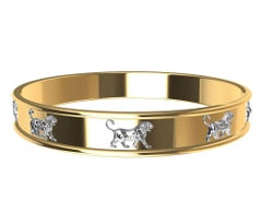 18 Karat and Platinum Persepolis Lions Bangle Bracelet