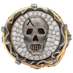 """18 Karat and Silver Skull and Diamond """"Jeans"""" Ring"""