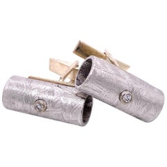 18 Karat and Sterling Silver Tube Shaped Meteorite Cufflinks with White Diamonds