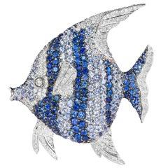 18 Karat Angel Fish Sapphire and Diamond Brooch
