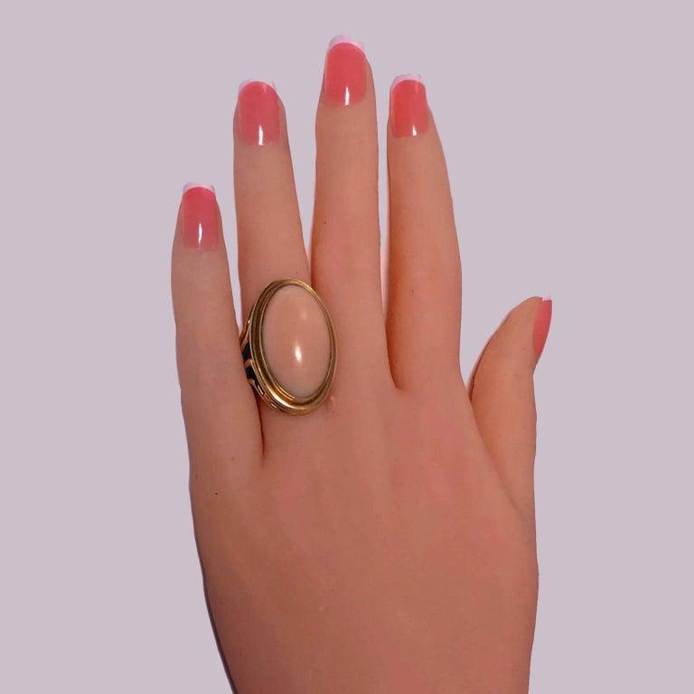 Cabochon 18 Karat Angel Skin Ring, circa 1970 Secrett For Sale