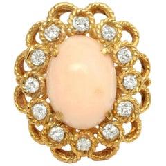 18 Karat Angel Skin Pink Coral Diamond Cocktail Ring