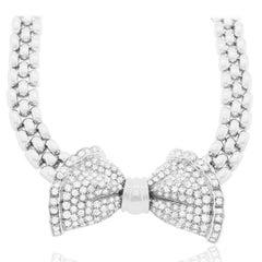 18 Karat Antique Diamond Bow Necklace