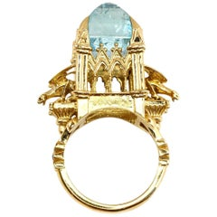 18 Karat Aquamarine and Black Diamond Almighty Empress Cathedral Ring