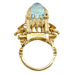 18 Karat Aquamarine and Black Diamond Almighty Empress Ring