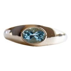 18 Karat Aquamarine Bezel Ring, Signet Ring