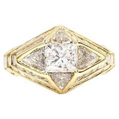 18 Karat Art Deco Inspired Diamond Ring 5.47 Carat Total Weight