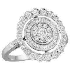 18 Karat Art Deco Style Gold Cocktail Fashion Ring w/Baguette Diamonds .79 Carat