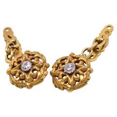 18 Karat Art Nouveau Diamond Studded Cufflinks, circa 1900