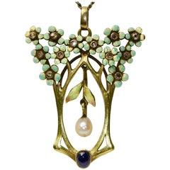 18 Karat Art Nouveau Pendant, Enhancer with Enamel, Diamonds, Pearl and Sapphire