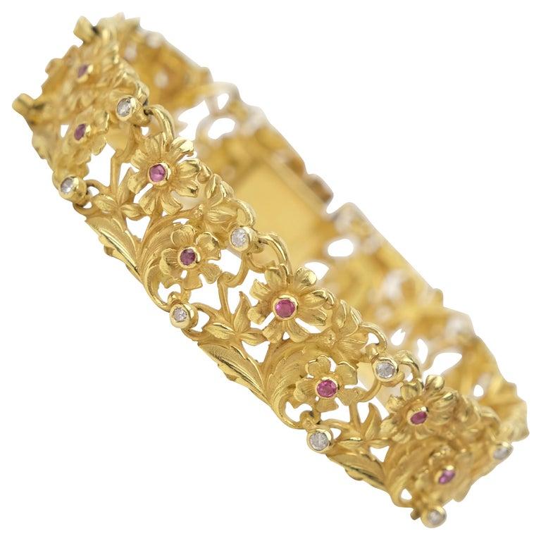 18 Karat Art Nouveau Style Ruby and Diamond Panel Bracelet For Sale