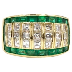 18 Karat Asscher Cut Diamond and Emerald Wide Ring