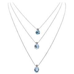18 Karat Baby Blue Topaz and Diamond Layered Drop Necklace, Powder Blue