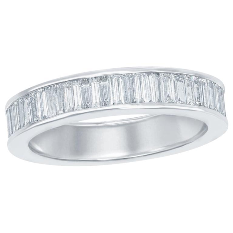 18 Karat Baguette Eternity Ring White For Sale
