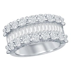 18 Karat Baguettes and Rounds Diamond Ring Halfway