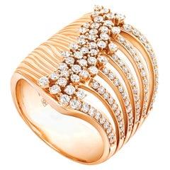 18 Karat Bahia Pink Gold Ring with Diamonds