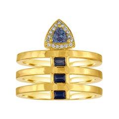 18 Karat Band Ring with Tanzanite, Sapphires and Diamonds