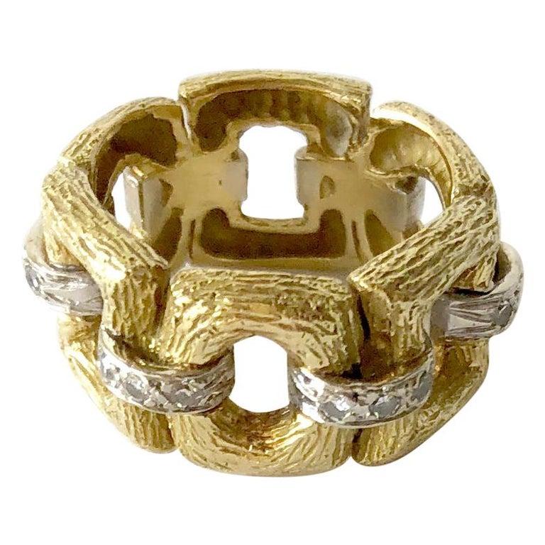 18 Karat Bark Textured Gold and Diamond Vintage 1960s Ring For Sale