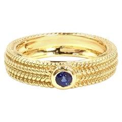 18 Karat Beaded Design Blue Sapphire Ring