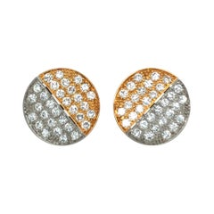 18 Karat Bi-Color Gold and Round-Cut Diamonds Ear Clips by Binder