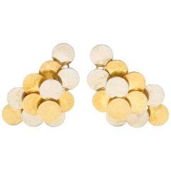 18 Karat Bi-Color Gold Circle Earrings