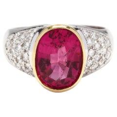 18 Karat Bi-Color Gold Pink Tourmaline and Diamond Ring