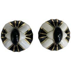 18 Karat Black and White Enamel Earrings by David Webb