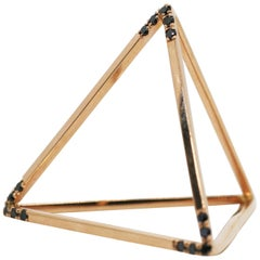18 Karat Black Diamond Edge Tetrahedron Pyramid Ring