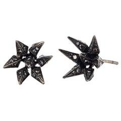 18 Karat Black Diamond Geometric Hedgehog Studs