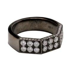 18 Karat Black Gold Deux Double Half-Octagon Diamond Ring