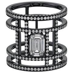 18 Karat Black Gold Illusion Tube Pave Diamond Ring