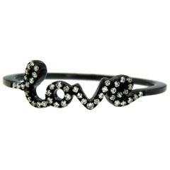 18 Karat Black Gold-Washed Diamond Love Ring