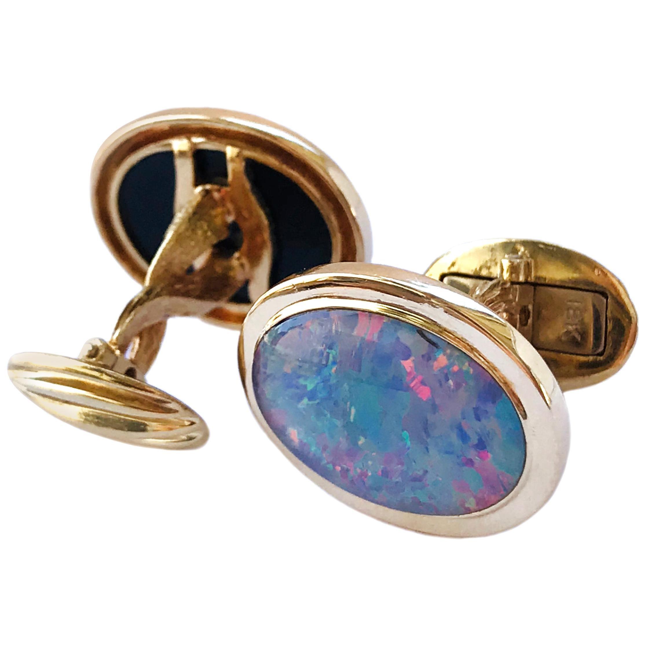 18 Karat Black Opal Oval Cufflinks