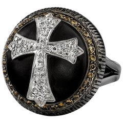 18 Karat Black Rhodium Gold, Pave Diamond Ebony Wood Cross Cocktail Ring