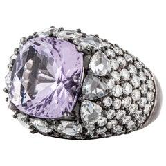18 Karat Blackened Gold Amethyst Diamond Ring