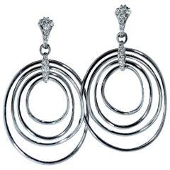 18 Karat Blackened Gold and Diamond Long Earrings