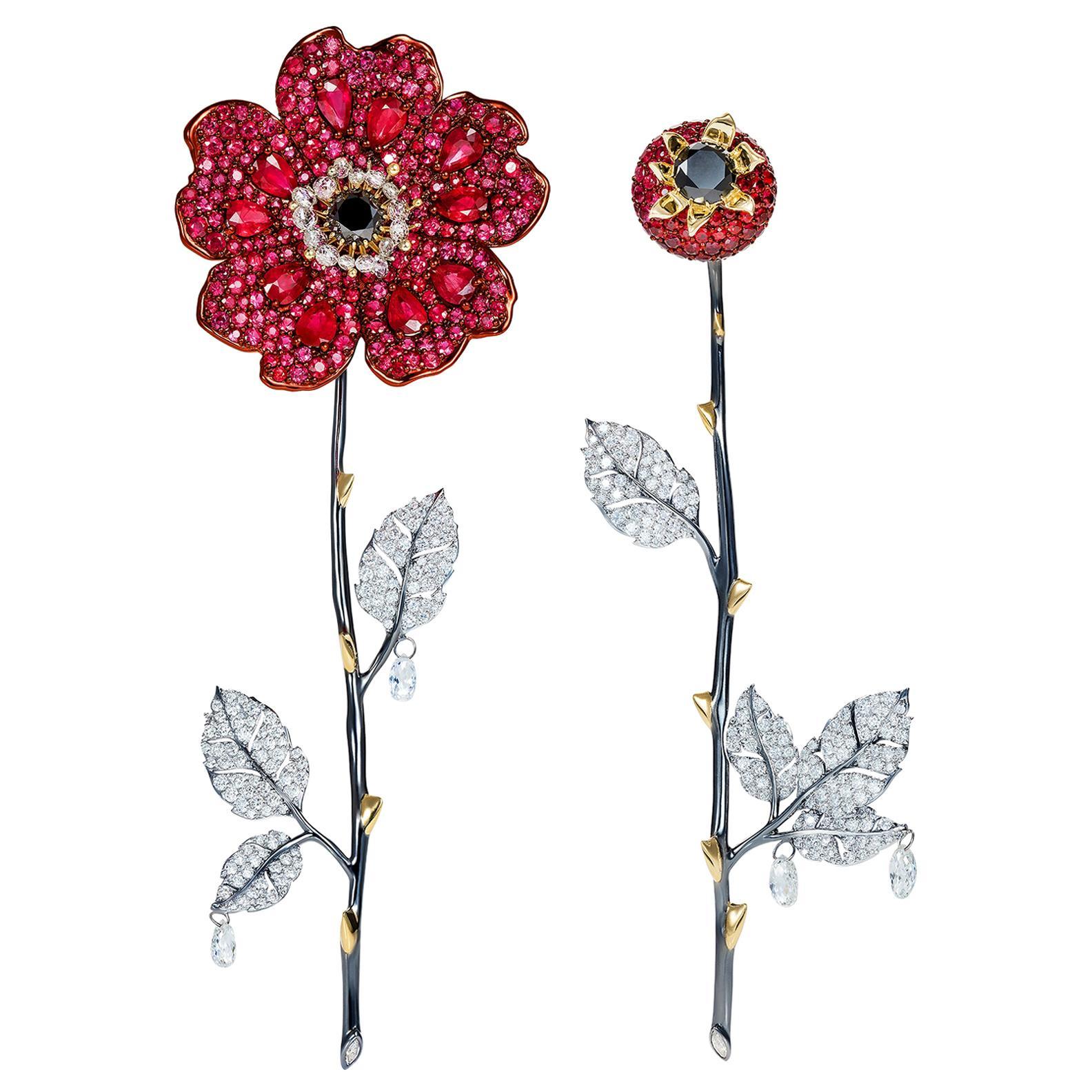 Sybarite Jewellery 18 Karat Gold 4.72 Carat Diamond Ruby Dangle Flower Earrings