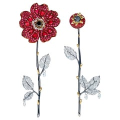 Sybarite Jewellery 18 Karat Gold 4.72 Carat Diamond Ruby Dangle Flower Earrings