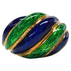 18 Karat Blue Green Enamel Ring