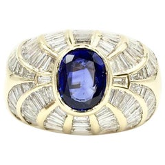 18 Karat Blue Sapphire and Baguette Diamond Cocktail Ring