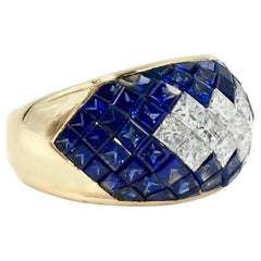 18 Karat Blue Sapphire and Diamond Illusion Set Wide Ring