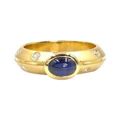 18 Karat Blue Sapphire and Diamond Ring
