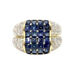 18 Karat Blue Sapphire and Diamond Wide Ring