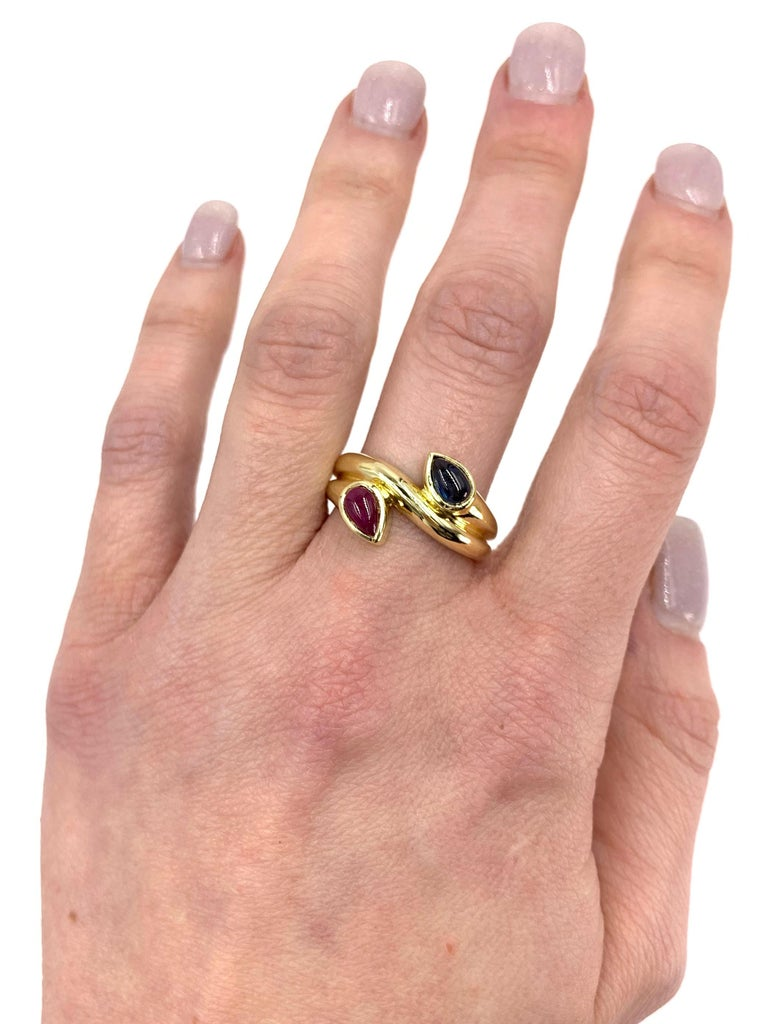 18 Karat Blue Sapphire and Ruby Moi Et Toi Bypass Ring For Sale 2