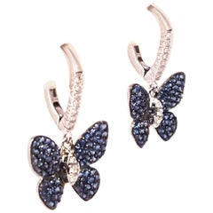 18 Karat Blue Sapphire and White Diamond Butterfly Pierced Earrings