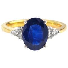 18 Karat Blue Sapphire Diamond Ring