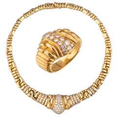 18 Karat Boucheron Necklace and Ring Suite